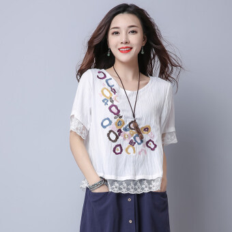LOOESN national style cotton linen slimming lace T-shirt Top (White)