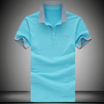 Loose cotton Plus-sized Fold-down collar polo shirt solid color short sleeved t-shirt (G8 light blue) (G8 light blue)