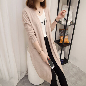 Loose female mid-length slimming knitted cardigan sweater (Beige)