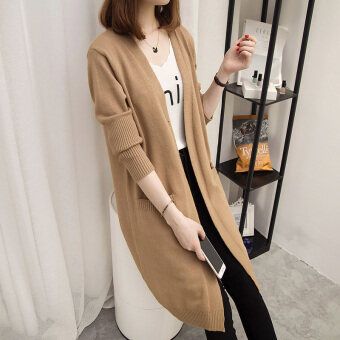 Loose female mid-length slimming knitted cardigan sweater (Khaki)