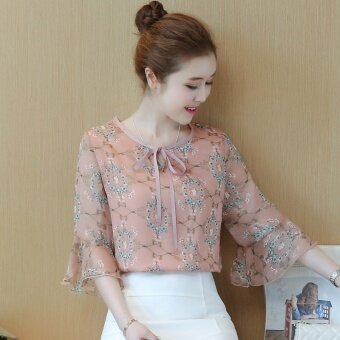 Loose female New style Women's short sleeved summer chiffon Top floral chiffon shirt (Pink)