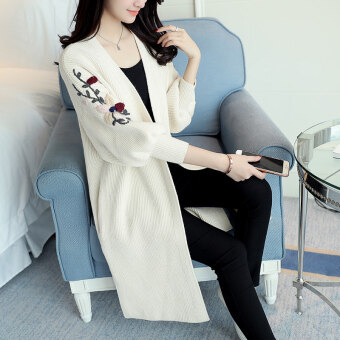 Loose Korean-style New style mid-length embroidered Spring and Autumn sweater cardigan (Beige)