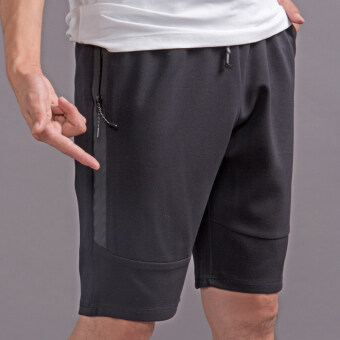 Loose men summer sports casual shorts (Black zip)