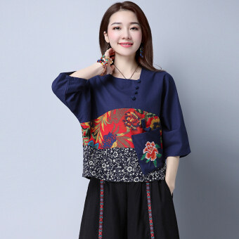 Loose national style embroidered with pockets shirt (Sky blue color) (Sky blue color)