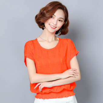 Loose short sleeved New style women's T-shirt chiffon shirt (Orange short sleeved)