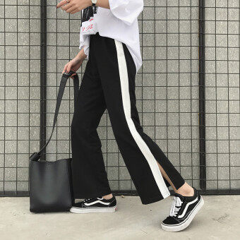 Loose simple spring and summer New style elastic waist casual pants athletic pants (Black) (Black)