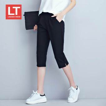 Lt Plus-sized stretch loose pants (Black Seven Points) (Black Seven Points)