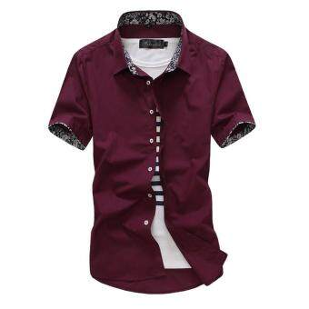 Maiguren short sleeved Slim fit business youth shirt men's shirt (Red wine) (Red wine)