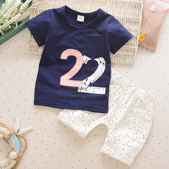 Male baby short-sleeved shorts T-shirt (2 word dark blue)