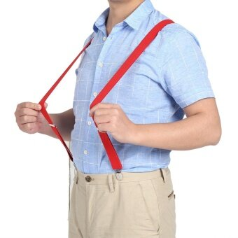 Male Female Elastic Braces Pants Trousers Jeans Suspenders ClipsBuckle Casual Belt(Red)