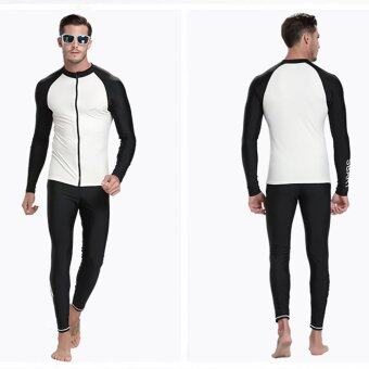 Men Diving Snorkeling Wetsuit Swim Shirts Tops Long Sleeve RashGuard Surf Shirt Swimwear - White