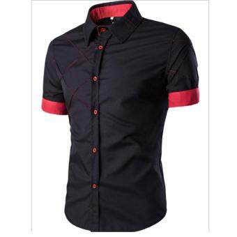 Men Fashion Short Sleeve Slimming Checked Pattern Shirt
