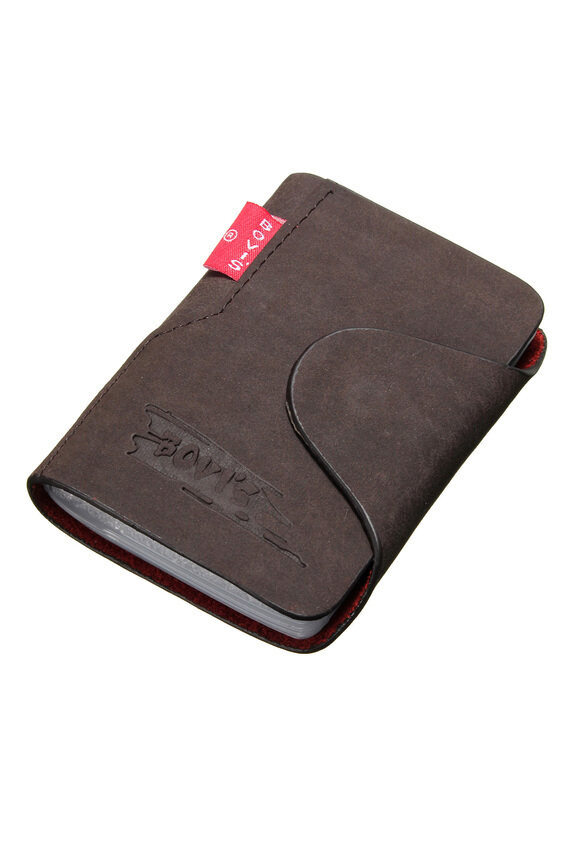 2pcs genuine leather mens wallet business credit card for Mens business card case