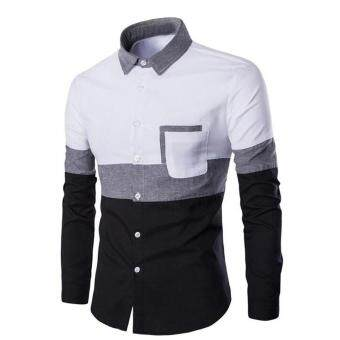 Men Long Sleeve Business Slim Fit Shirts Dress Tops T Shirt (White)