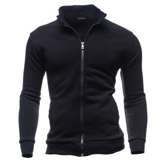 Men Warm Zipper Coat Jacket Slim Fit Casual Sleeve Outwear(Black) -