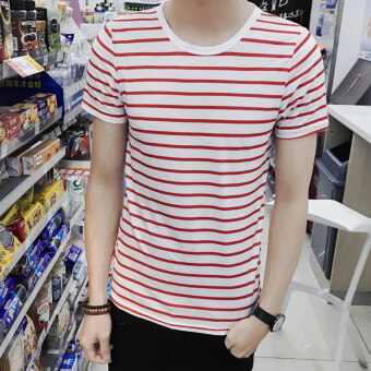 Men's Japanese-style Slim Fit Striped Round Neck Hald Sleeve Shirt (DT12-red stripe)