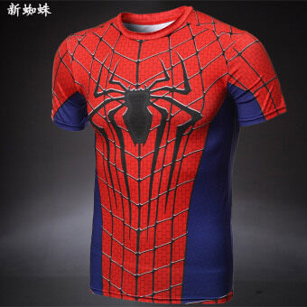 Men's stretch short-sleeved running slim fit clothing (New spider) (New spider)