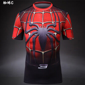 Men's stretch short-sleeved running slim fit clothing (Spider c) (Spider c)