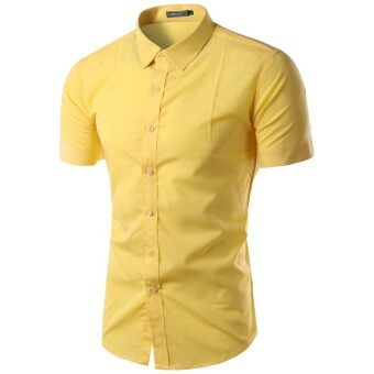 Mens Casual Sim Fit Button-down Collar Short Sleeve Shirt (Yellow ...