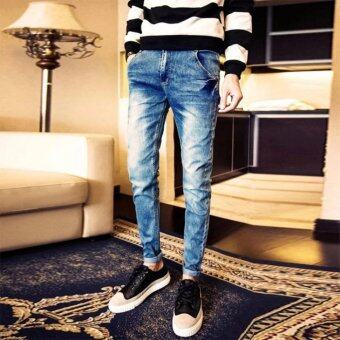 Mens Fashion Slim Casual Denim Pants Cotton Skinny Men Jeans FitTrousers