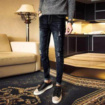 Mens Fashion Slim Casual Denim Pants Youth Cotton Skinny Men Jeansmovement Fit Trousers