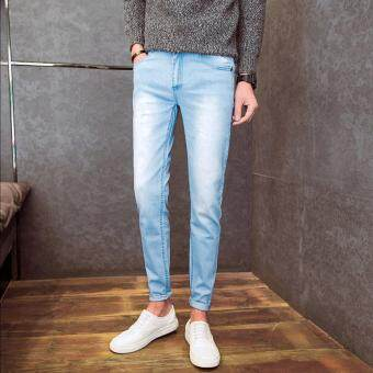 Mens Fashion Slim Casual Denim Pants Youth Cotton Skinny Men Jeansmovement Fit Trousers Light Blue
