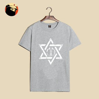 Men's Print round neck loose T-shirt cotton short-sleeved t-shirt(T-182-pentagram gray)