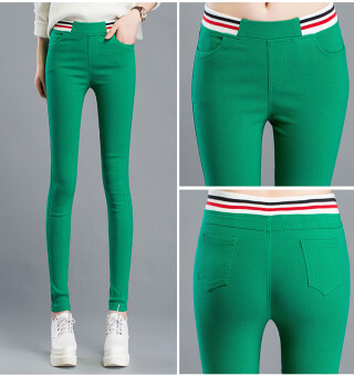Mm black female outerwear thin skinny pants leggings (Green color)