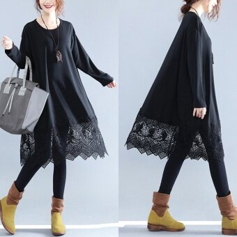 MM Korean-style New style Plus-sized Slimming effect lace bottoming shirt dress (Black)