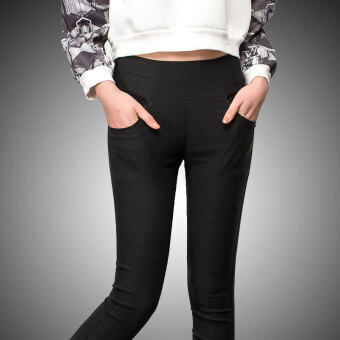 Mm200 outerwear Spring and Autumn thin high-waisted women's pants leggings (Black) (Black)