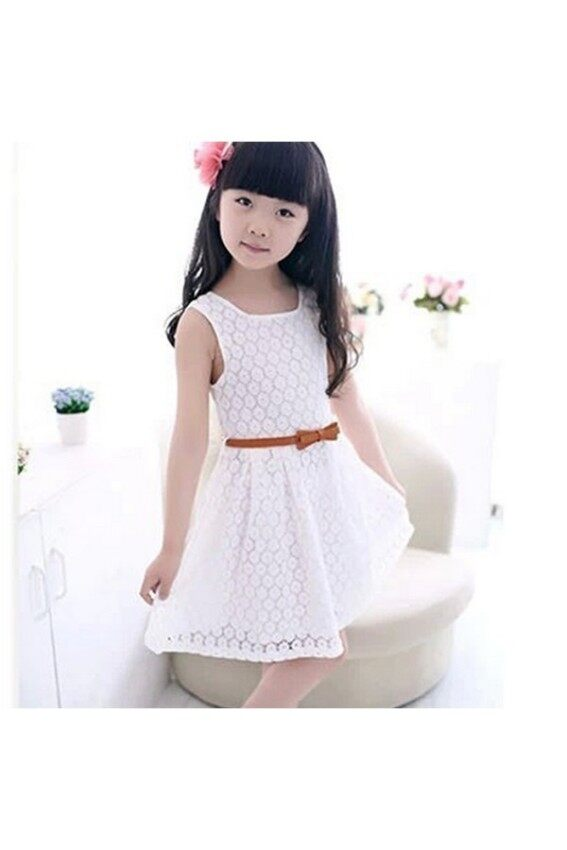 Hang-Qiao Children Girls Dress Polka Dot Chiffion Bowknot Belt ...