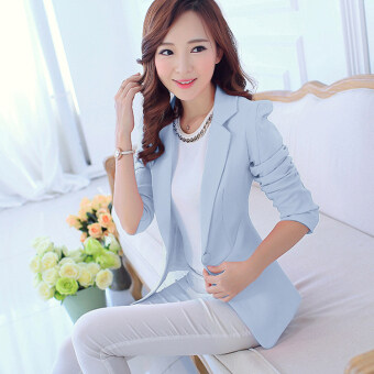 Ms. spring and summer models ol Slimming effect long-sleeved jacket small suit (Sky blue color) (Sky blue color)