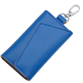 Multi-functional Genuine Leather Folding Door Key Electronic KeyHolder Bag Credit Card Coins Cash Snap Button Holder Wallet BagPouch Blue