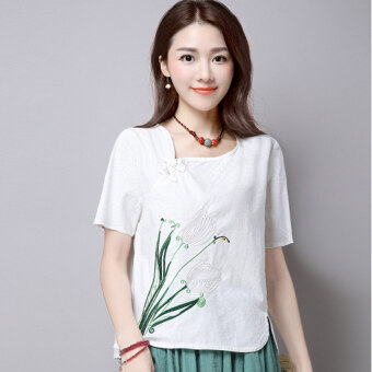 National Style cotton linen embroidery plate buttons base shirt Top (Pink)