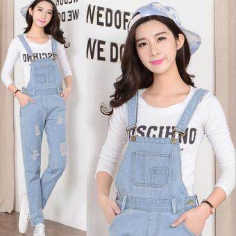 New Spring Denim Jumpsuits Women Vaqueros Romper Long PantsBleached Scratched Ripped Jeans Overalls Suspender Female Catsuit-Light blue