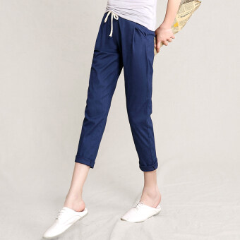 New style elastic waist summer Linen cropped pants (Navy blue)