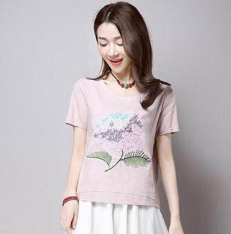 New style embroidered loose national wind Linen short-sleeved t-shirt (Pink)