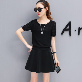 New style short sleeved chiffon shirt (Black Top (send necklace))