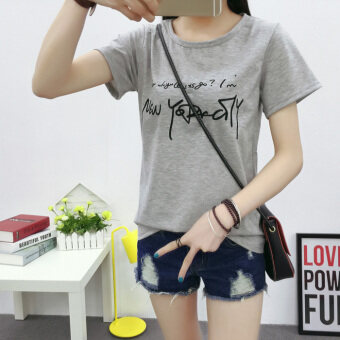 New style Slimming effect compassionate tide Korean-style short-sleeved t-shirt (5049 gray)