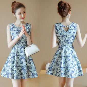 New style waist Slimming effect floral sleeveless small fresh aword dress (Blue background)