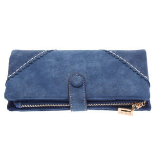 New Women Fashion Leather Wallet Button Clutch Purse(blue)