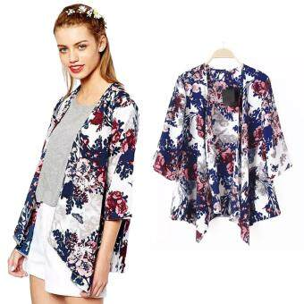New Women Outerwear Open Front Floral Print Batwing 3/4 SleeveIrregular Hem Thin Vintage Loose Cardigan Coat Blue