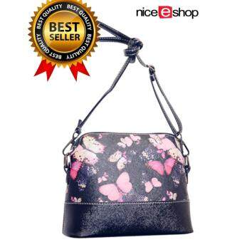 niceEshop Flower Pattern Leather Messenger Bag Crossbody ShoulderBags For Women, Butterfly