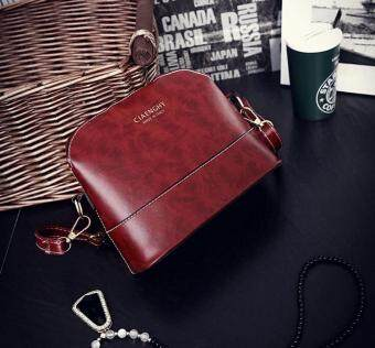 niceEshop Womens PU Leather Shoulder Bags Casual Messenger Handbag Burgundy