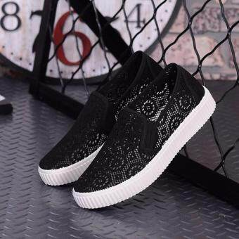 Ocean 2017 New Ladies fashion Flat shoes leisure breathable Candycolor Net cloth shoes(Black)