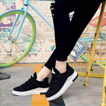 Ocean New Women Fashion Sneakers Han edition Flat Lace upBreathable Run Casual shoes(Black)
