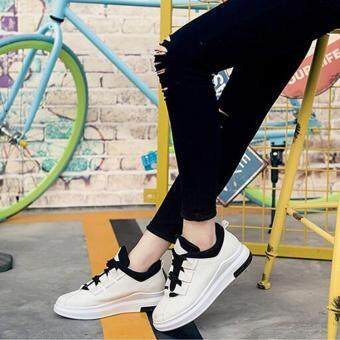 Ocean New Women Fashion Sneakers Han edition Flat Lace upBreathable Run Casual shoes(White)