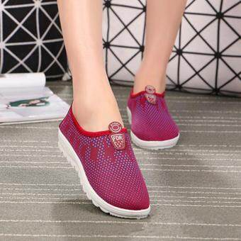 Ocean Woman Flat Shoes Slip-Ons Ladies sports shoes Casual Walkingshoes(Red)