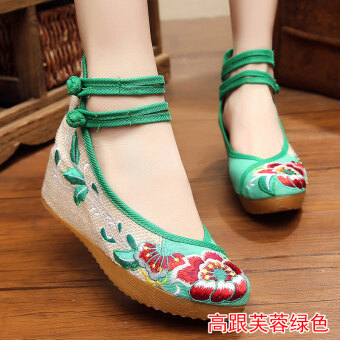 Old Beijing female Chinese clothing shoes cloth shoes (High-heeled Hibiscus Flower green)