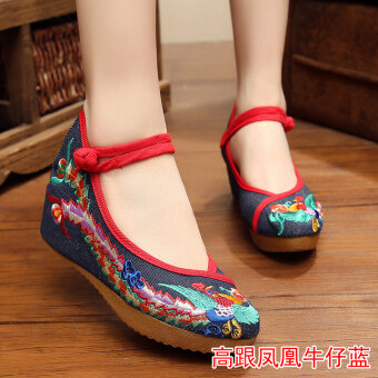 Old Beijing female Chinese clothing shoes cloth shoes (High-heeled Phenix denim blue)